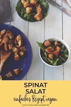 Spinatsalat aus frischem Blattspinat mit Datteln und orientalisch gewürzten Fladenbrot-Croutons. Lecker als Beilage oder leichtes Mittagessen oder Abendessen. Einfach vorzubereiten und du benötigst für das schnelle Spinat-Salat-rezept nur wenige Zutaten. #spinatrezepte #spinatrezeptevegetarisch #spinatrezeptesalat Yotam Ottolenghi, Ratatouille, Chana Masala, Salads, Curry, Vegetables, Ethnic Recipes, Health, Summer Vibes
