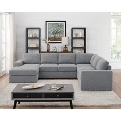 online shopping for Lilola Home Warren Light Gray Linen 6 Seat Reversible Modular Sectional Sofa Chaise from top store. See new offer for Lilola Home Warren Light Gray Linen 6 Seat Reversible Modular Sectional Sofa Chaise U Shaped Sectional, Modular Sectional Sofa, Corner Sectional, Living Room Sectional, Living Room Furniture, Modern Furniture, U Shaped Couch Living Room, Rustic Furniture, Sectional Couches