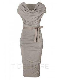 tidestore - tidestore Slim Solid Color Short Sleeve Knee Length Day Dress - AdoreWe.com