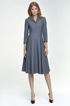Loose Dress With Sleeves - SilkFred Winter Dress Outfits, Spring Outfits, Outfit Winter, Outfit Summer, Mode Unique, Grey Dress Pants, Pants Outfit, Office Outfits, Work Outfits