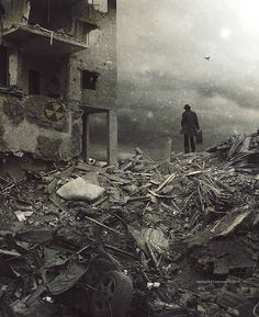 The Post Apocalypse. Black and white photography, surreal art, conceptual art, urban decay, abandoned building, rubble, human figure, grey, alone, lost. Lonely art photography.
