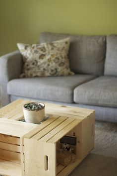 Wood crate coffee table - i really do like this!