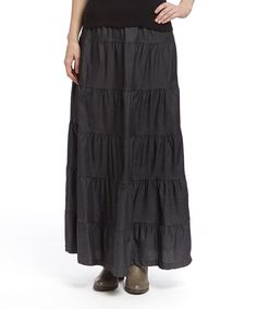 Look what I found on #zulily! Baby'O Black Tiered Maxi Skirt - Women by Baby'O #zulilyfinds