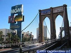 The Brooklyn Bridge at the New York-New York Hotel Las Vegas is one fifth the size of the original