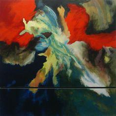 Aggression 2004, Acryl auf MDF, 80 x 81 cm (2-teilig)
