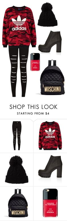 """""""moschino x adidas"""" by fgshannah ❤ liked on Polyvore featuring adidas Originals, Topshop, Moschino and Iphoria"""