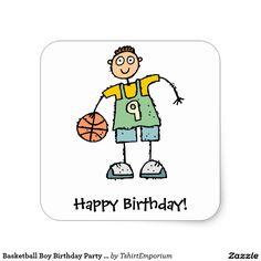 Basketball Boy Birthday Party Stickers