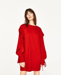Image 2 of DRESS WITH SLEEVE FRILL from Zara
