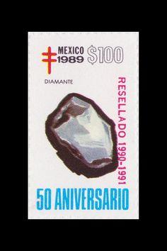 Sello: Minerales. Pais: México. Año: 1989 - 50 aniversario. Valor 100 pesos mexicanos (1 peso mexicano = 0,0452 €). Descripción: DIAMANTE.