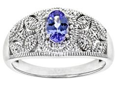 oval tanzanite with round white 3 diamond accent, rhodium over sterling silver ring. Measures approximately x Not sizeable. Diamond Gemstone, Gemstone Colors, Broken Chain, Blue Topaz Ring, Types Of Rings, Rings Online, 1 Carat, Sterling Silver Rings, Jewelry Collection