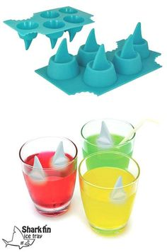 Shark fin ice cubes. THIS IS SOOOOOOOOO COOL!!!!!!!!!!!!!!!!!!!!!!!!!!!!!!!!!!!!!