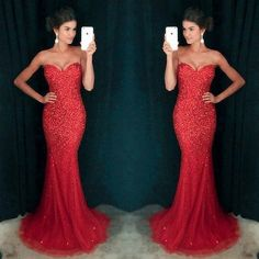 Sweetheart Red Sequin Sexy Mermaid Tulle Rhinestone Prom Dresses, PD0254