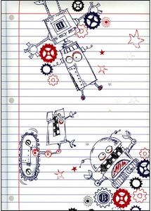 Robots Notebook by Pierre Belvedere Inc, White Robot Classroom, Classroom Themes, Of Montreal, Brighten Your Day, Line Drawing, Robots, Inventions, Back To School, All In One
