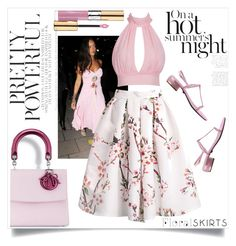 """""""The Power of Pink"""" by paperdollsq ❤ liked on Polyvore featuring Versace, Yves Saint Laurent and Floralskirts"""