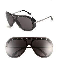 Valentino Studded Shield Sunglasses ($315) ❤ liked on Polyvore featuring accessories, eyewear, sunglasses, uv protection sunglasses, uv protection glasses, lightweight sunglasses, valentino glasses and lens glasses