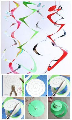 and Art for Kids: Whirligigs Science and Art all in one! Make simple paper whirligigs to explore dynamics.Science and Art all in one! Make simple paper whirligigs to explore dynamics. Easy Art Projects, Projects For Kids, Diy For Kids, Crafts For Kids, Arts And Crafts, Kids Fun, Theme Carnaval, Diy Paper, Paper Crafts