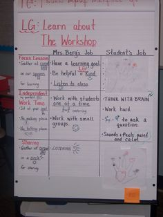 expectations for workshop model...great for introducing or reviewing procedures