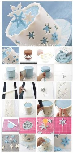 Awesome winter cake-Idea for Frozen cake Cake Decorating Techniques, Cake Decorating Tutorials, Decorating Ideas, Decorating Cakes, Fondant Cakes, Cupcake Cakes, Winter Torte, Winter Cakes, Bolo Frozen