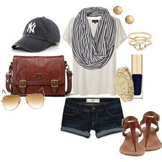 cute outfit except i would wear a Saint Louis cardinals hat and a red scarf instead of the Yankees hat and gray scarf!