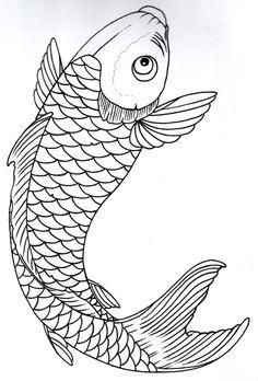 Japanese koi koi and japanese koi fish tattoo on pinterest for Koi fish outline