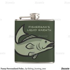 Funny Personalized Fisherman Bass Fishing Angling Hip Flasks
