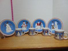Set Of Eight 1997 Debbie Mumm Sakura Snowman 4 Dessert Plates And 4 Mugs NIB/MIB Dessert Plates, Dish Sets, Snow Globes, Snowman, Mugs, Holiday, Desserts, Dessert Dishes, Tailgate Desserts