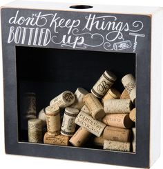 A shadow box for the wine enthusiast! Collect and store corks from your favorite wines - or at least the wines of the week! Perfectly sized hole on the top allows you to collect corks as you finish of