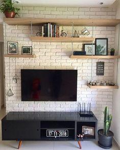 ✨ Essa parede já estava nos nossos planos há muito tempo. Home Interior Design, Room Design, House Interior, Living Room Decor, Apartment Decor, Diy Home Decor, Interior, Home Deco, Home N Decor