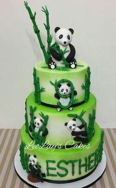 Cute pandas - Cake by leolay Panda Bear Cake, Bolo Panda, Panda Cakes, Bear Cakes, Panda Bears, Baby Shower Cakes, Fondant Cakes, Cupcake Cakes, Bolos Cake Boss