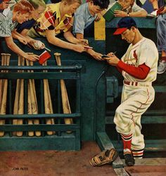 Stan Musial, St. Louis Cardinals ~ John Falter's Saturday Evening Post cover from May 1, 1954