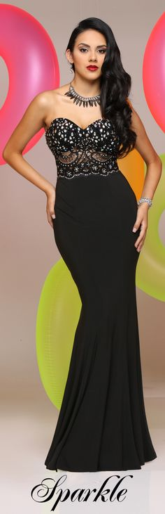 Sparkle Prom Style #71556 - Lace and beaded covered sweetheart strapless bodice.  Flowing jersey skirt has sweep train.