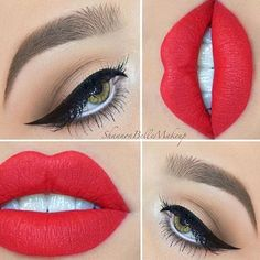 Stunning nude eye with classy wing and matte red lips.