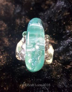 Women's Stylish Glass Ring Aqua/Dicroic Glass. by GhostLuceCreations on Etsy
