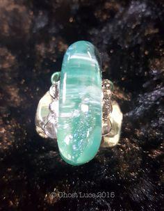 Women's Stylish Glass Ring Aqua/Dicroic Glass. by GhostLuceCreations on Etsy