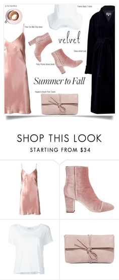 """Summer to Fall in velvet"" by yourstylemood ❤ liked on Polyvore featuring Fleur du Mal, Frame Denim, Martha Stewart and LULUS"