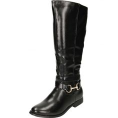 e1ba3c547885 Buy Flat Leather Style Knee Buckle Strap Boots by JWF from our Ladies  Footwear range - Black
