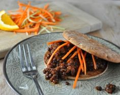 Slow Cooker Vegetarian Lentil Sloppy Joes, made with lentils and pantry ingredients, just a littie bit spicy. #VeganDoneReal. For Weight Watchers, #PP3. #AVeggieVenture.