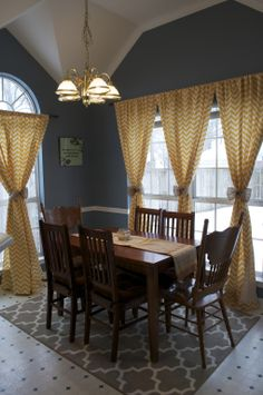 Chevron curtains with burlap tie-backs Want to make these tie-backs for classroom curtains!