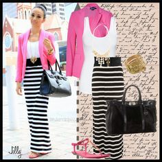 Pink and stripes. Have the blazer! I would probably wear a black and white pencil skirt instead. Cute outfit!!
