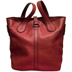 Pre-owned Tod's Burnt Sienna Pebbled Leather Tote Orange Tote Bag ($479) ❤ liked on Polyvore featuring bags, handbags, tote bags, orange, red tote bag, orange handbags, preowned handbags, red purse and tote purses