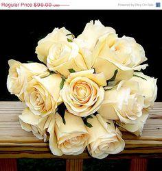 ON SALE moonlight pale yellow rose wedding by WeddingFlowerShop  on etsy.