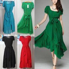 Slim Chiffon Dress Skirt Dress irregular Cocktail Party Evening Bridesmaid Dress