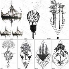 Geometric Mountain Tattoo, Geometric Tattoos Men, Geometric Tattoo Design, Triangle Tattoos, Geometric Tattoo Drawings, Geometric Tattoo Tree, Triangle Tattoo Design, Ankle Tattoo Small, Small Tattoos