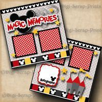 MAGIC MEMORIES ~ DISNEY ~ 2 premade scrapbook pages paper piecing ~ BY DIGISCRAP