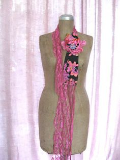 Pink Vintage Flower Belt Headband Floral Hot by AllThingsPretty