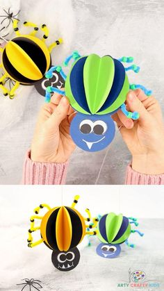 Easy Arts And Crafts, Crafts For Kids To Make, Easy Art Projects, Projects For Kids, Diy Halloween Decorations, Halloween Crafts, Spider Crafts, Paper Feathers, Crafty Kids
