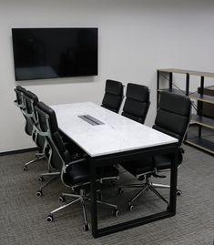 WMQU Table 대리석 : 비앙코까라라 프레임 : 블랙색상 사이즈 : 주문제작 Office Table, Custom Made, Conference Room, Marble, Furniture, Home Decor, Decoration Home, Room Decor, Granite