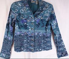 Chico's Blue Silver Metal Trim Batik Floral Lightweight Jacket 100% Cotton XS 0 #Chicos #BasicJacket
