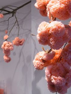 LOVE the idea of adding tissue pom pons to branches. Stunning...