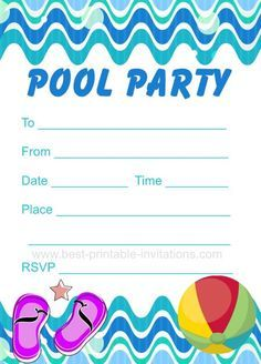 Pool Party Invitation - Free printable party invites from www.best-printable-invitations.com